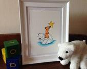 Reach for the Stars- Polar bear and fox. Original watercolour nursery art.