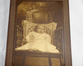 """Antique Photo with Sepia Tone ~ Infant Portrait ~ Early Arts and Crafts Era ~ 2 Pcs Available """"Mary Jane Cook"""""""