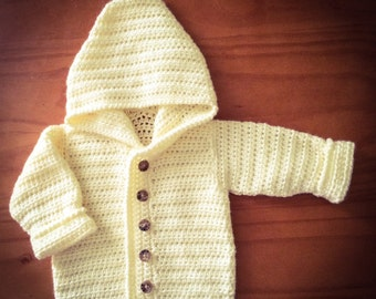 Sweet Baby Hoodie -- Crochet, Made to order, 3-24 month