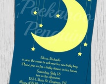 Over The Moon Baby Shower Invitation, Moon And Stars Baby Shower Invitation, Digital Baby Shower Invite, Starry Baby Shower Invitation