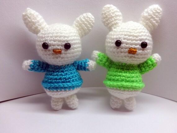 Amigurumi Cotton Yarn : Crochet bunny/ acrylic yarn/ amigurumi toy/ Colorful bunny