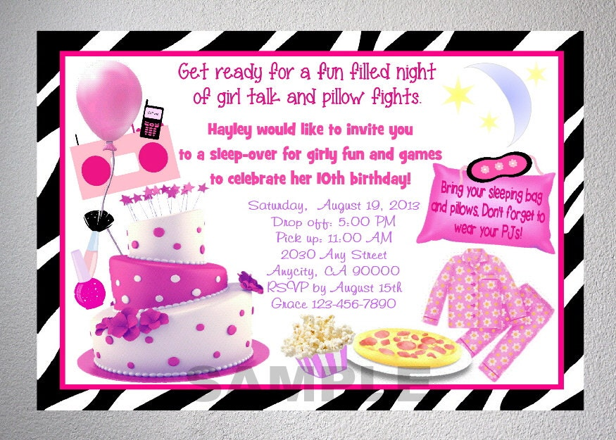Sleepover Girls Night Birthday Party Invitation Zebra Print