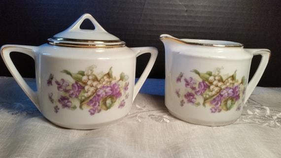 German Lavender Cream And Sugar Set Vintage Purple Gold Trim