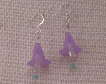 Purple Flower and Crystal Dangle Earring