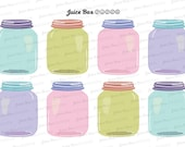 Set of 8 Mason Jar Stickers for Various Planners, Calendars, Journals