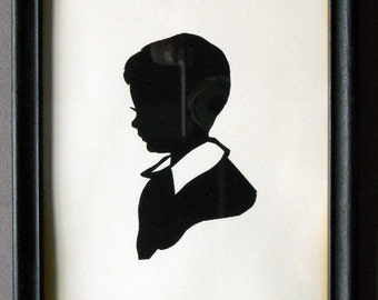 Laurene Rose Diehl 1950 Silhouette Of A Young Boy Paper Cut