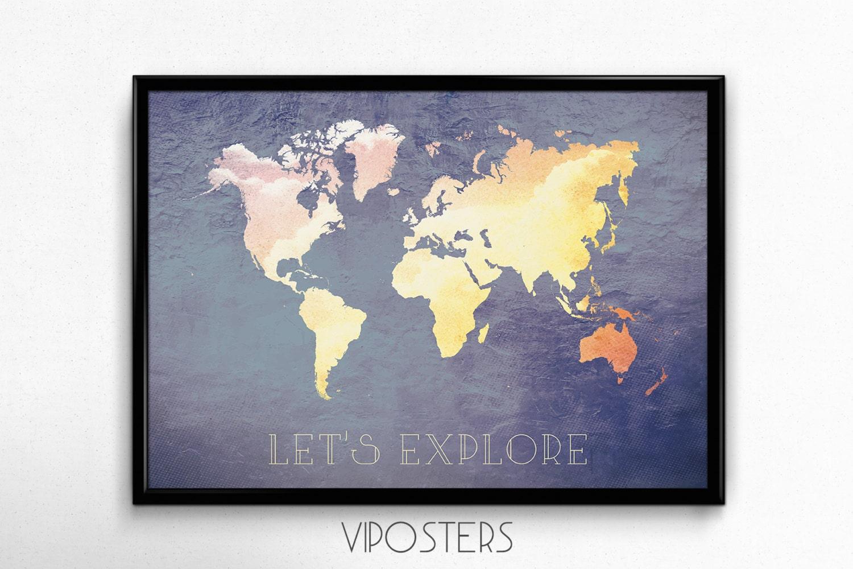 Large World Map Art Large World Map Wall Art