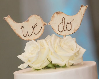 Rustic Wooden Wedding Love Bird Cake Toppers