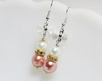 Pink Earring - Pearl Earrings - Wedding Jewelry - Peach Jewelry - Pearl Jewelry - Bridesmaid Sets  - Bridal Jewelry - Bridesmaid Earrings