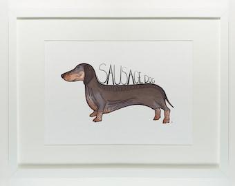 Sausage dog print. A fun print of a sausage dog. Dachshund print, nursery art work, print for a babies room, dog art, animal print, modern