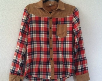 Western Plaid button up with faux suede detail