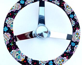 Black Folkloric Sugar Skull Day of the Dead Steering Wheel Cover
