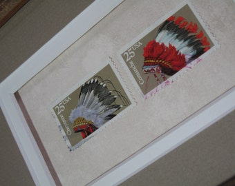Framed Stamp Art! Native American Headdress! Cheyenne! Comanche! Acid Free! Collectible Postage Stamps! Ready to Hang! USPS!