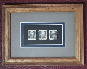 Framed Stamp Art! President Dwight D. Eisenhower! Acid Free! Collectible Postage Stamps! Ready to Hang!
