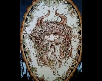 Greenman rustic wood plaque