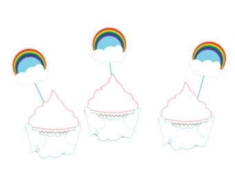 Rainbow Themed Cupcake Wrappers/Toppers