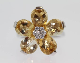 925 Citrine w / White Topaz Ring