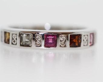 925 Multicolor Tourmaline Ring