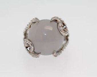 925 Blue Chalcedony / White Topaz Ring