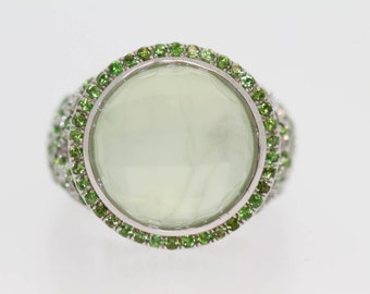 925 Prehnite / Chrome Diopside Ring .