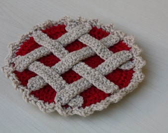 Crochet Cherry Pie Pot Holder, Trivet, Hot Pad