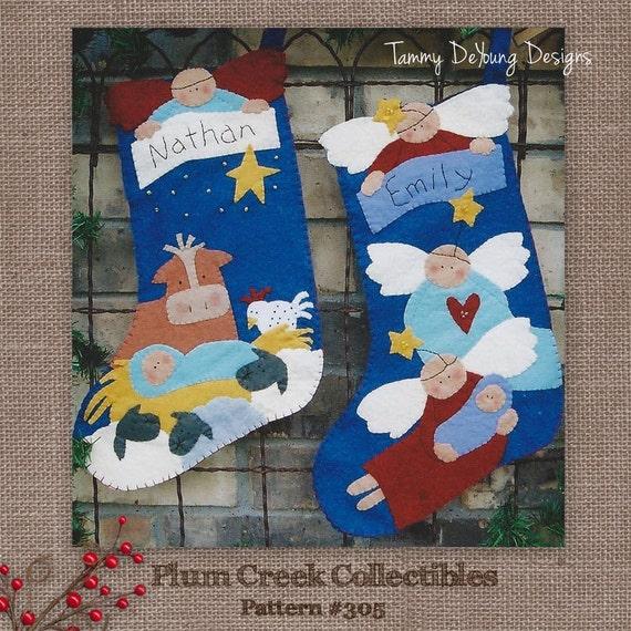 Nativity Christmas Stockings Pattern Felt applique manger scene for ...