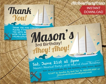 INSTANT DOWNLOAD- Nautical Yacht Invitation Printable-digital invitation-PDF format-for personal use only-digital file