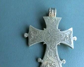 Ethiopian cross,coptic,solomonic/Shoa cross. about 1930-40s Genuine old.Good solid silver 835/1000. beautiful etged both sides. Boho jewelry