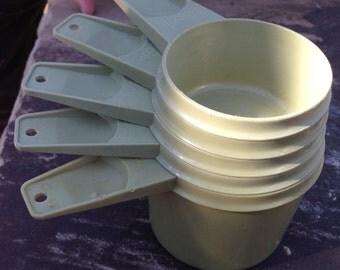 Vintage Tupperware Measuring Cups-Green