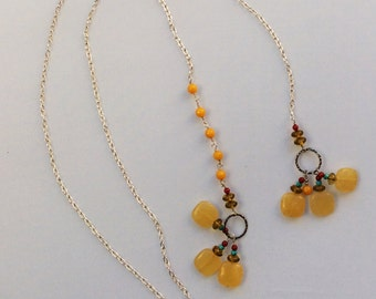 Embellished honey  jade lariat necklace