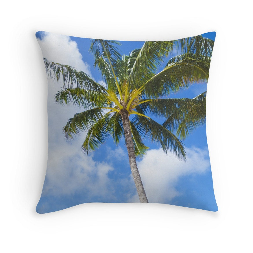 Palm Tree Throw Pillow cover cotton Personalized Hawaii Sky