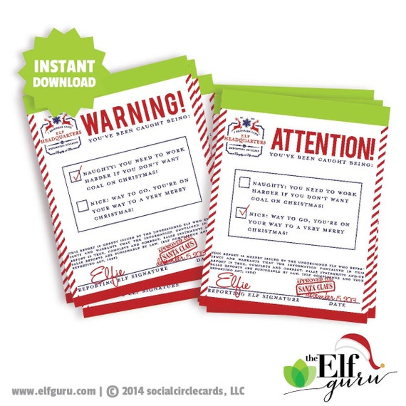 Printable Elf On The Shelf Warning and Attention Notices