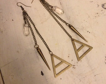 Clear Quartz Crystal with bronze spike & triangle