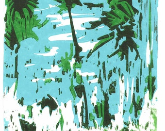 Tropical colored linocut on 300 gr. acid-free cardboard, 2009, Edition: 25 pieces