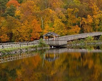Autumn Reflections in Cheat Lake Morgantown West Virginia - Portait - Photographic Print