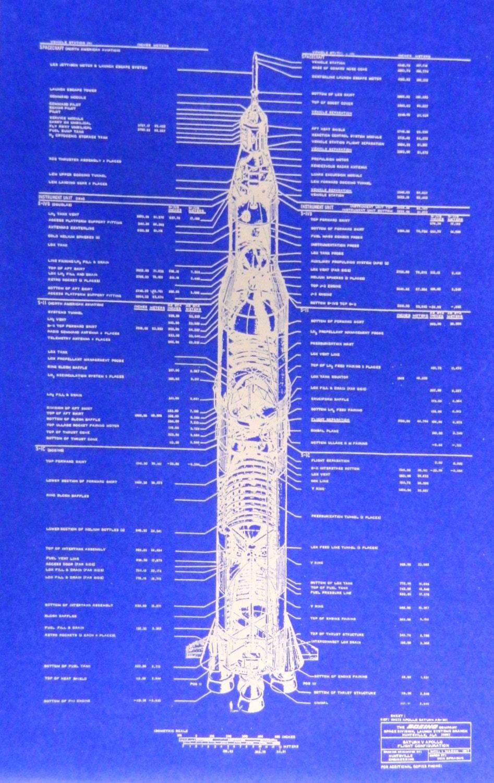 Nasa Boeing Saturn V Rocket Blueprint By Blueprintplace On Etsy