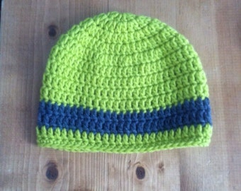 Baby Boy Crocheted Hat with Stripe