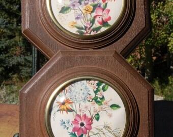 R F Harnett Floral Framed Pictures  Set of two.