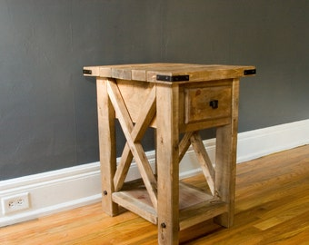 Rustic Side Table with Reclaimed Wood Finish