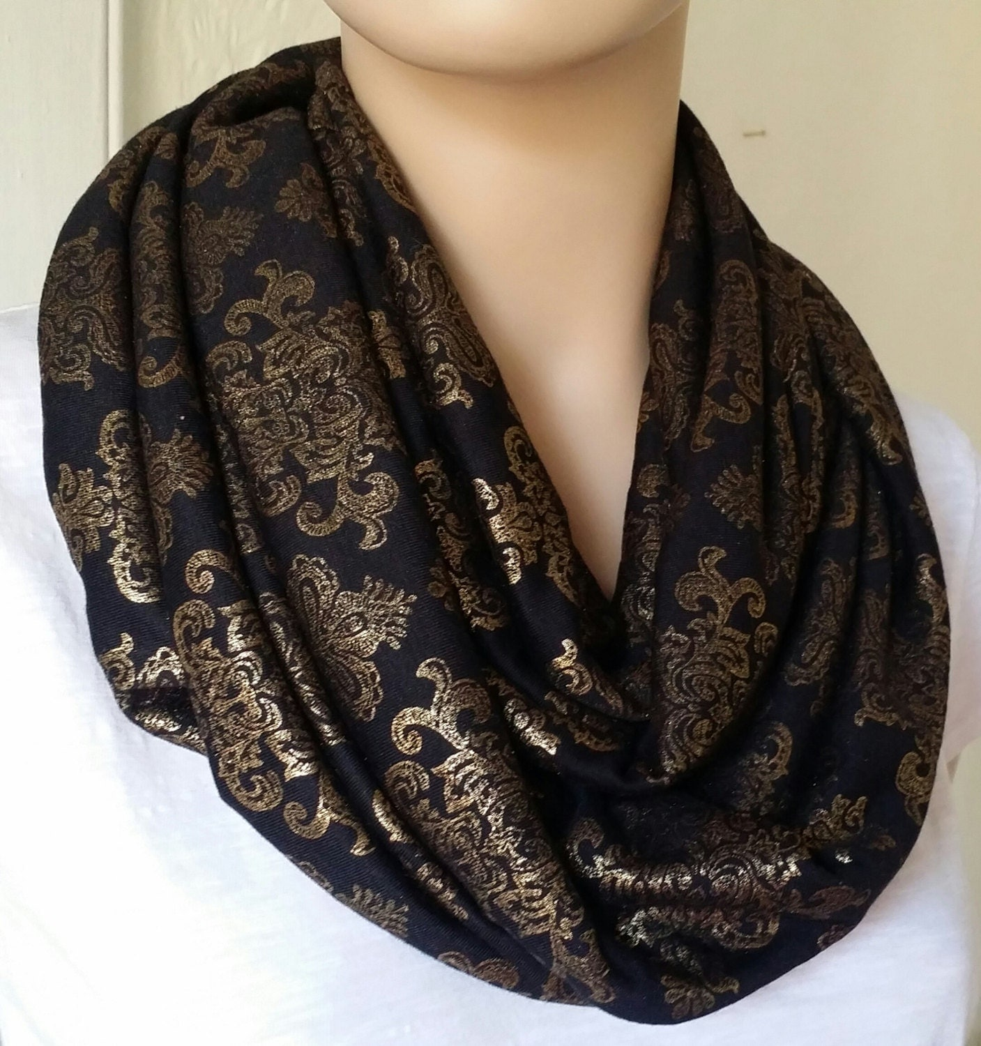 black and gold printed infinity scarf by brittsdiversestyle
