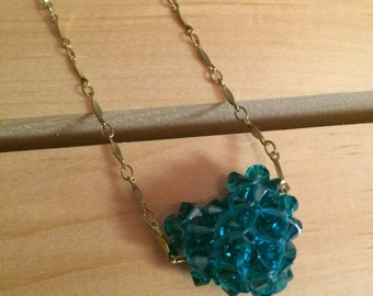 Crystal Puffed Heart Necklace - FREE U.S. SHIPPING