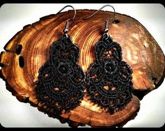 Black Lace Earrings, Lace Earrings, Black Earrings, Black Earrings, Hypoallergenic Earrings, Surgical Steel Earrings, Lace, Black Lace