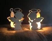 Praying Angel Candle Holders, Set of 2 Christmas Candle Holder, Angel Candle Holders, Christmas Decoration, Baptism Gift