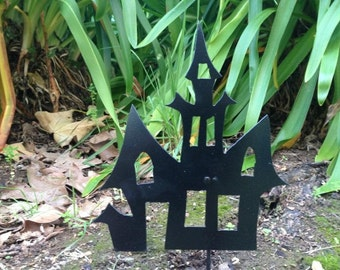 Set of 3 Haunted House Stakes, Halloween Metal Art, Halloween Decorations, Halloween Outdoor Decor, Halloween, Haunted House yard decoration