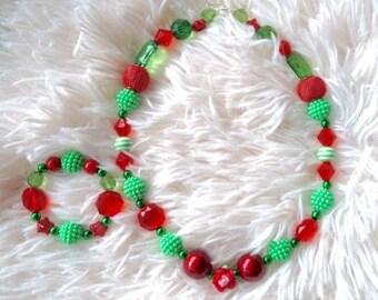 Christmas Necklace and Bracelet. Holidays, Handmade necklace and bracelet.