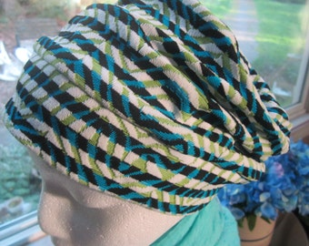 Black, Turquoise, and Green Knit Chemo Slouch Hat