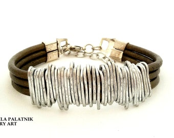 Bronze leather bracelet, Wrapped Bracelet, Rustic Leather Bracelet, Hammered Silver Wire, Women Statement Bracelet, Silver Charm Bracelet.