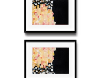 Contemporary art print, pink and black painting, colorful abstract art, set of 2, 8 x 10  - available in different sizes