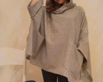 Beige wool knit  poncho / cape with hood