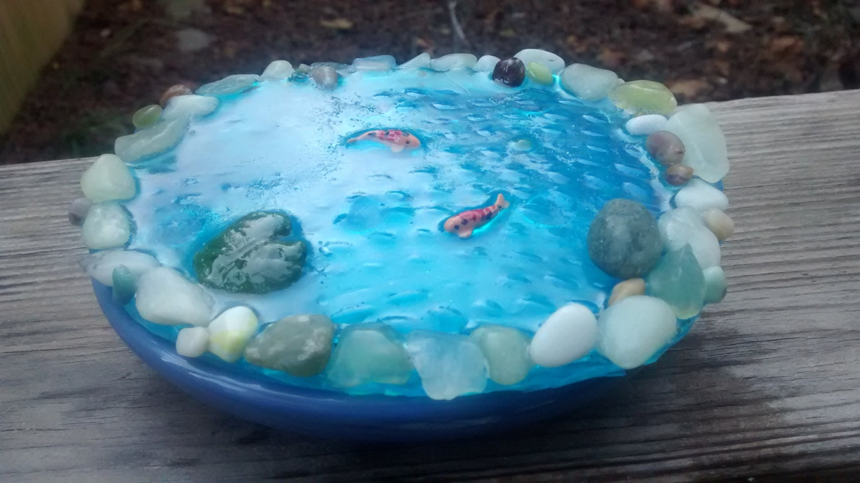 Miniature koi pond deep blue for mini zen fairy gnome troll for Koi pond zen